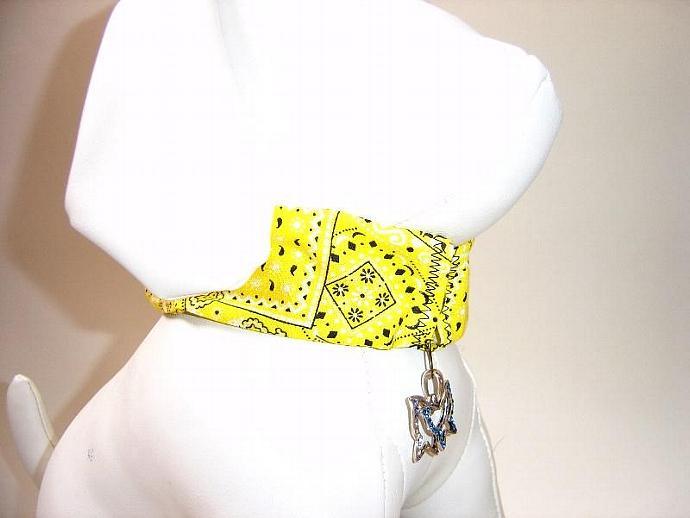 Yellow Bandana Print Dog Collar Slipcover, a bandana alternative