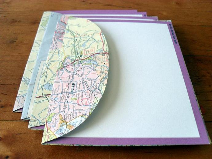 Recycled Map Stationery - 1967 Boston
