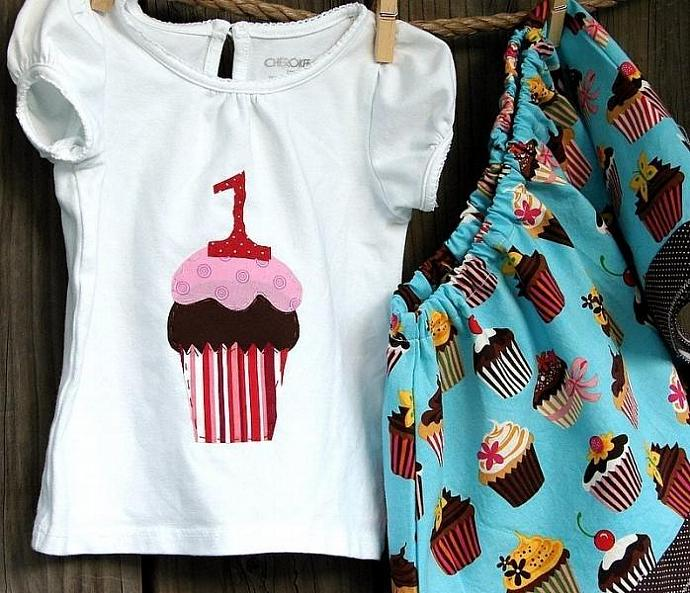 Happy birthday cupcake...personalized shirt with handmade twirly skirt set for