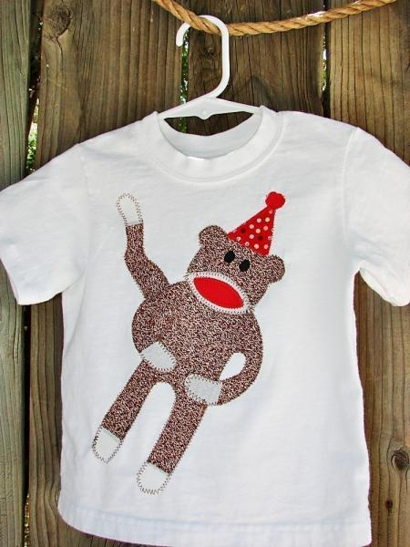 Sock Monkey birthday personalized tshirt with applique monkey for little boys