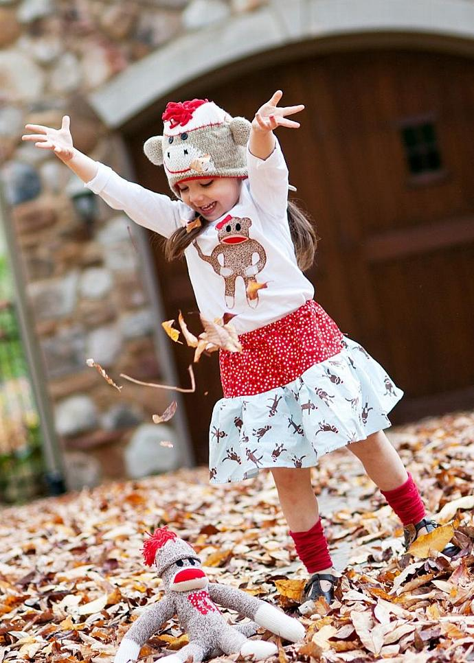 Sock monkey fun...handmade twirly skirt with applique t shirt just for