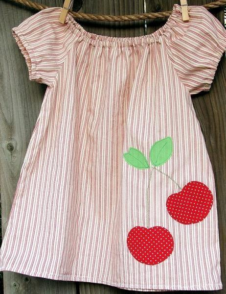 Stripes and cherries....applique handmade peasant short sleeve top for little