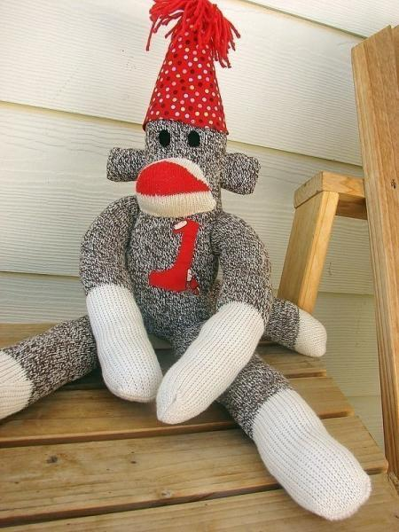 Handmade original red heel birthday sock monkey for all ages...perfect for