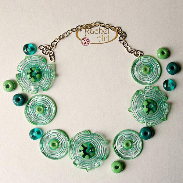 Teal Flower Lampwork Glass Beads, Handmade Flower Glass Beads Disc Set (16 )