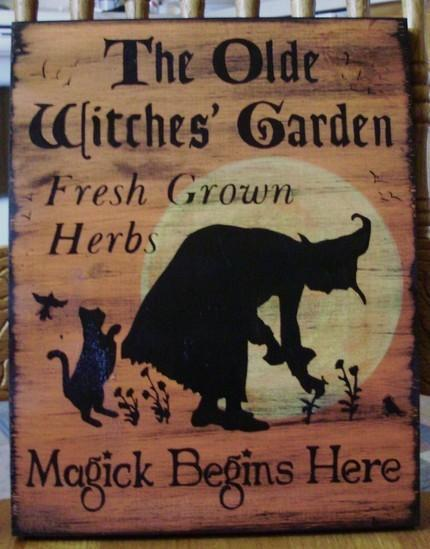 Primitive Witches Garden Sign Herbs Witchcraft Fairies Cats Pixies Plaques