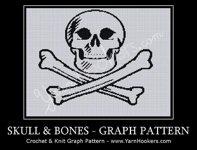 Skull & Bones - Afghan Crochet Graph Pattern Chart - PDF Download