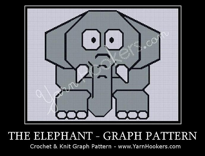 Grey Elephant - Afghan Crochet Graph Pattern Chart - PDF Download