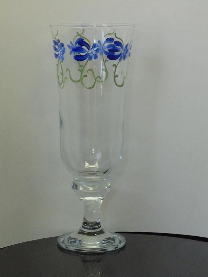 Hand painted Blue Floral Pilsner glass