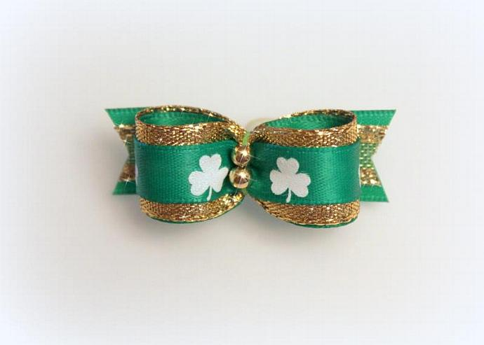 5/8 St. Patty's Gold & Green Irish Bow with Golden Beads