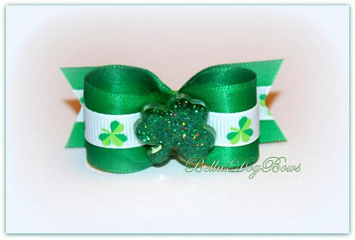 "7/8"" St. Patrick's Day Bow -- Green Satin with White Grosgrain Green Shamrocks"