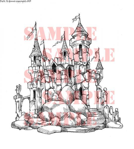 Cozy Castle Scene Digi