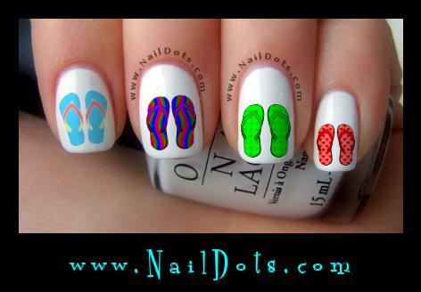 Flip Flop Nail Decals, Super Cute! | NailDots
