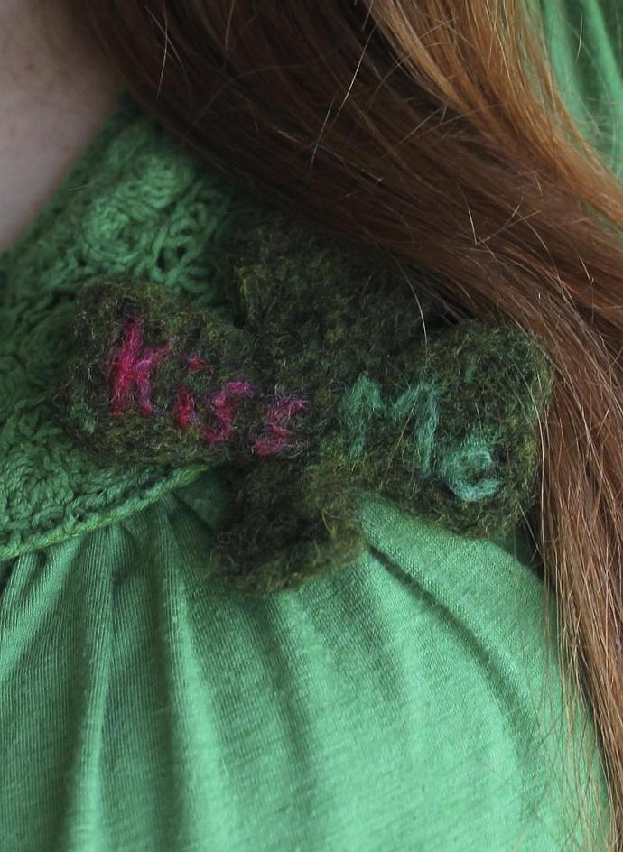 Clover Pin Needle Felted Hat Pin Lapel Pin