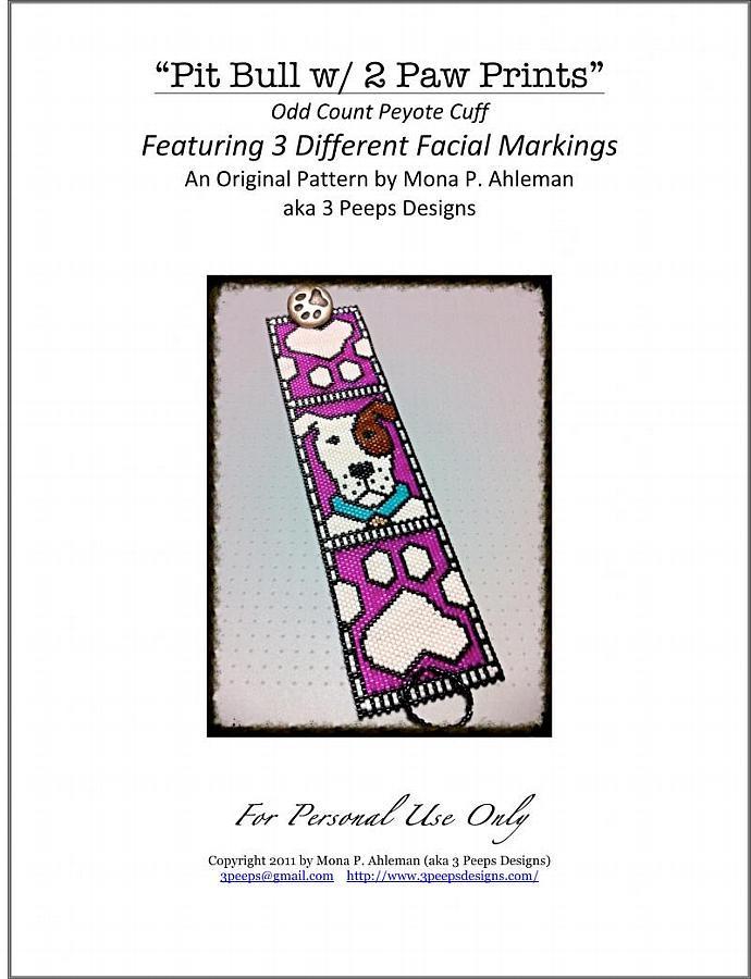 Pit Bull Peyote Cuff PDF Pattern + Bonus by 3 Peeps Designs
