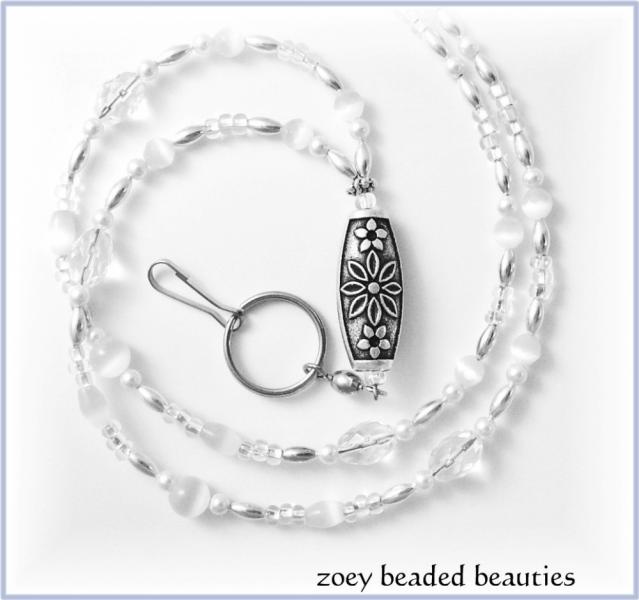 Classy White Beaded Lanyard