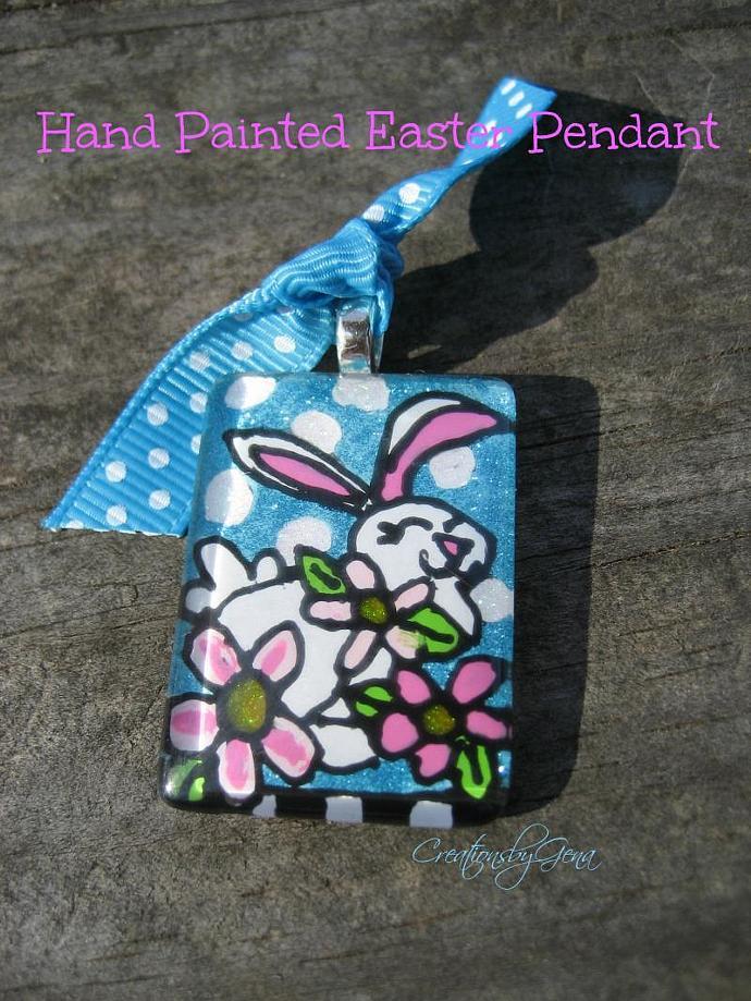 Original HandPainted on glass EASTER Bunny Rabbit Pendant Wearable Art Charm