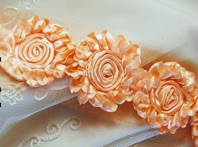 8 PEACH Shabby Rose Satin Ruffled Flowers on net