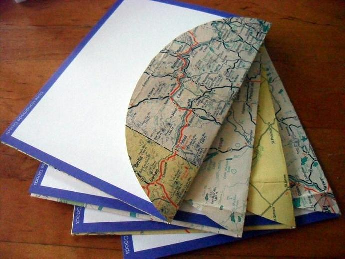 Recycled Map Stationery - 1939 New England