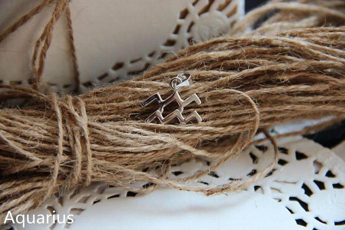 Aquarius Necklace, Aquarius Zodiac, Aquarius Charm Necklace, Silver Charm