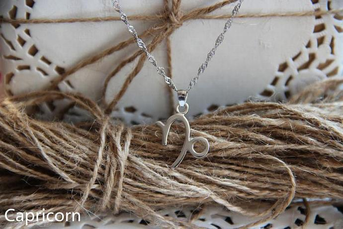 Capricorn Necklace, Capricorn Zodiac, Capricorn Charm Necklace, Silver Charm