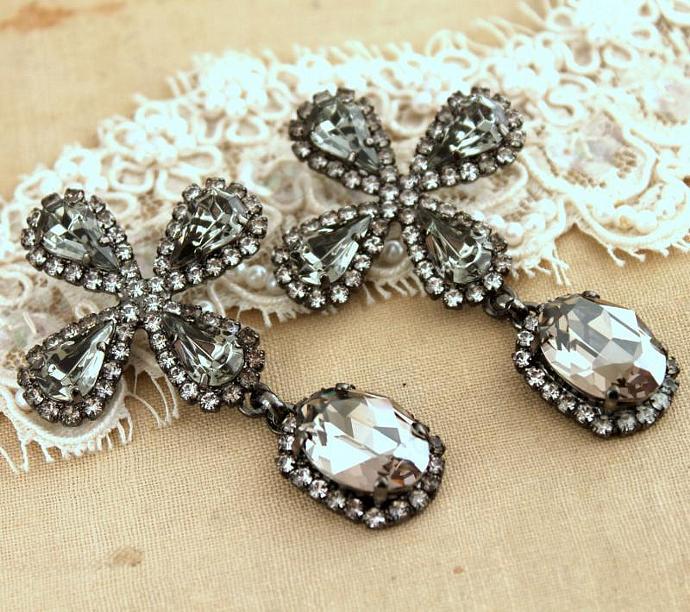 Black Diamonds Swarovski Gift Woman Crystal Bride Jewelry Earrings Wedding