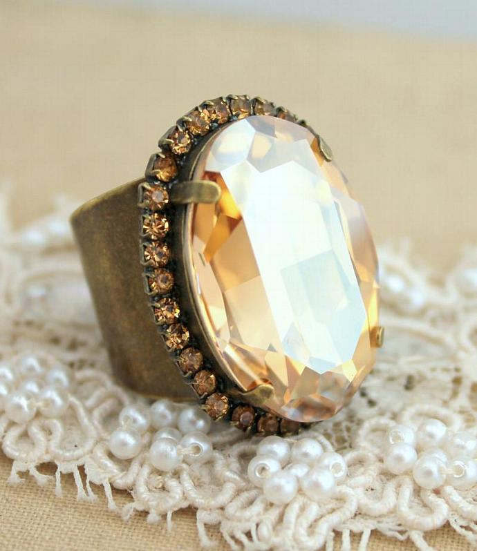 Statement Adjustable Cocktail Ring Champagne Antique Brass Swarovski Woman