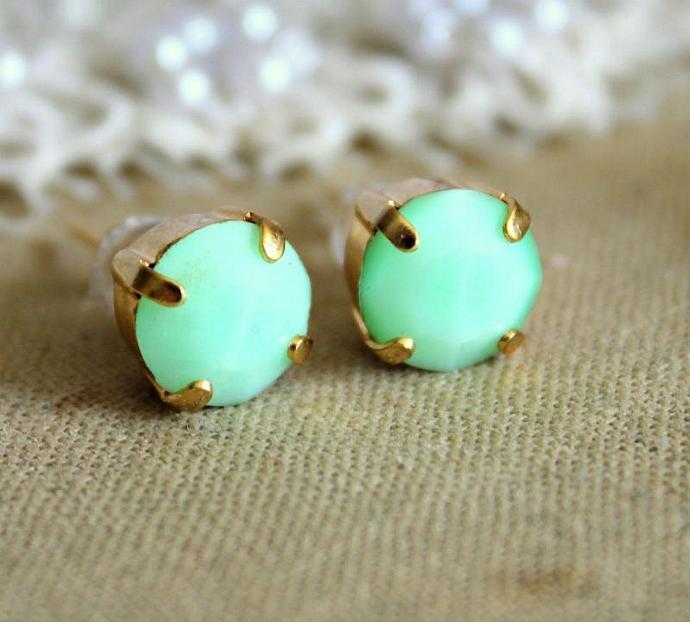Jewelry Gold Earrings 14k Gold Plated Earrings Faceted Swarovski Rhinestone
