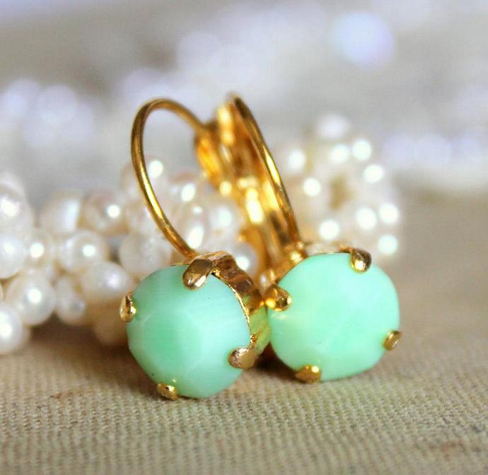 Mint Gold Earrings 14k Plated Faceted Swarovski Wedding Jewelry Women Brides