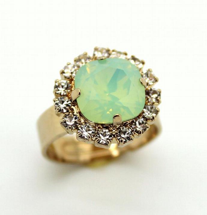Mint Opal Gold Adjustable Ring 14k Gold Ring Swarovski Woman Wedding Jewelry