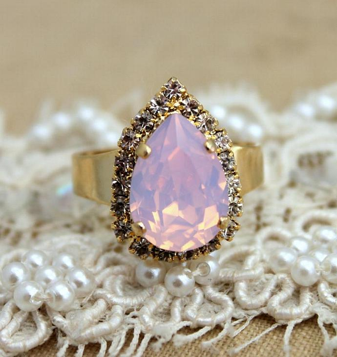 Opal Pink Tear Drop Adjustable Ring 14k Gold Swarovski Woman Wedding Jewelry