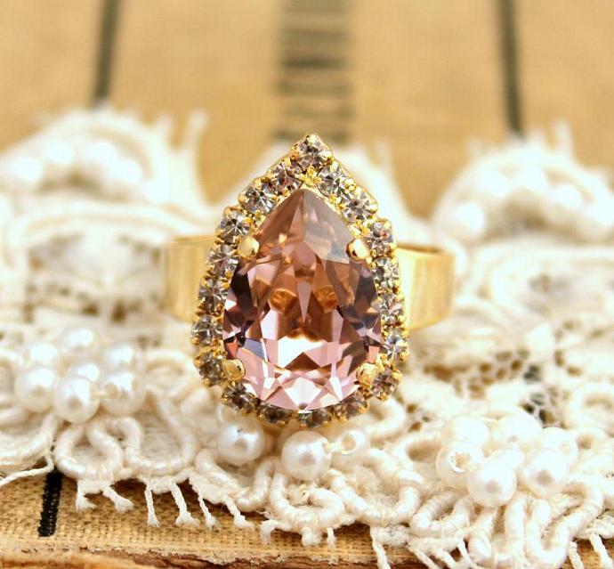 Vintage Rose Tear Drop Adjustable Ring 14k Plated Gold Swarovski Rhinestones