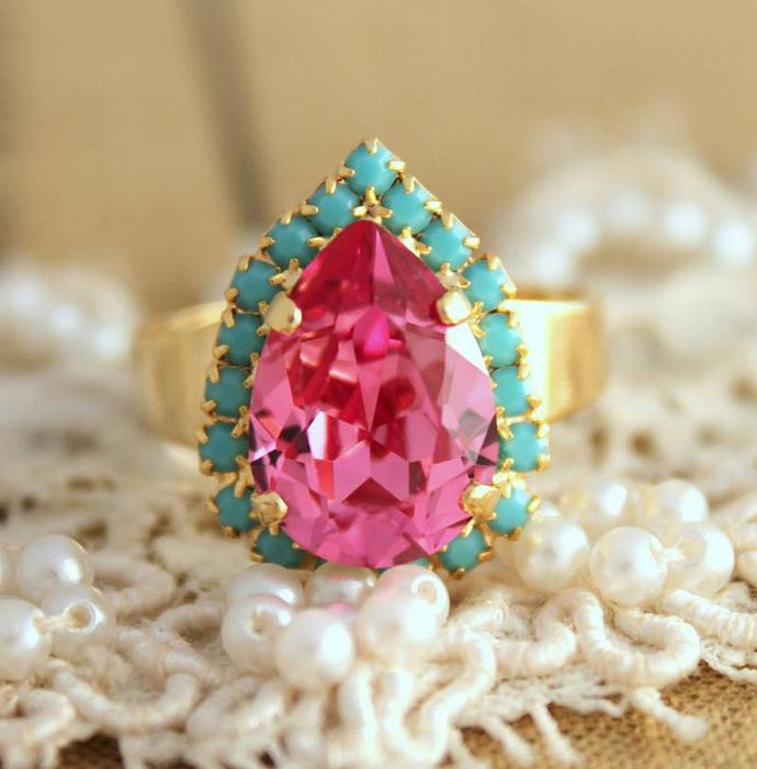 Pink Turquoise Adjustable Ring 14k Plated Gold Swarovski Rhinestones Wedding