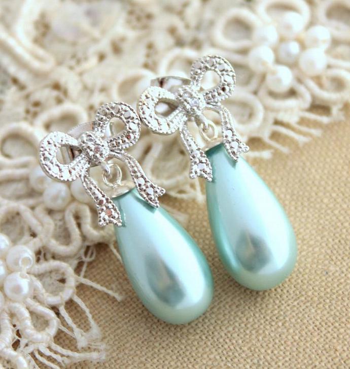 Bow Pearl Earrings Mint Silver Majorica Jewelry Bridal Wedding Jewelry Bride
