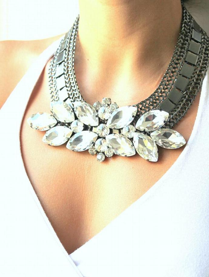 Swarovski Bib Rhinestone Necklace Black White Ruthenium Plating Gift Wedding
