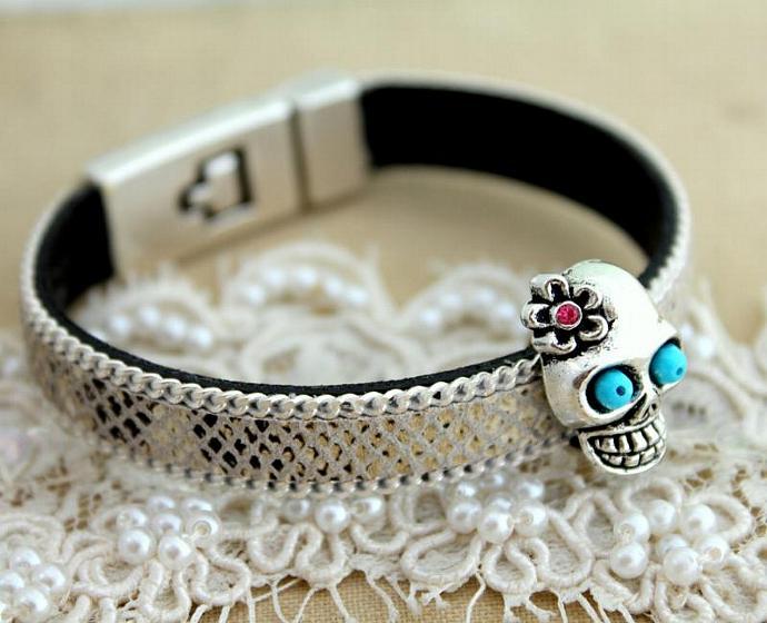Skull Leather Bracelet Turquoise Pink Swarovski Rhinestones Gift Woman Charm