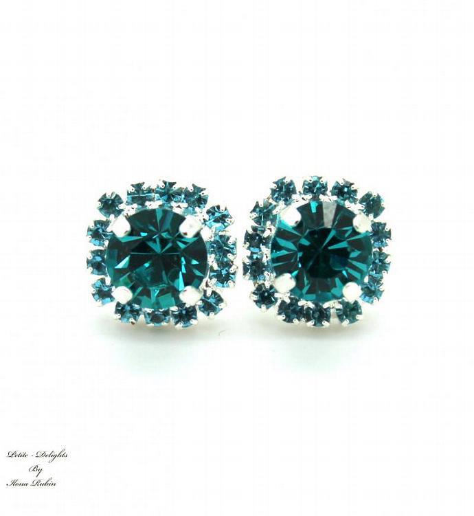 Blue Teal Rhinestone Swarovski Crystal Christmas Gift Silver Plated Earrings