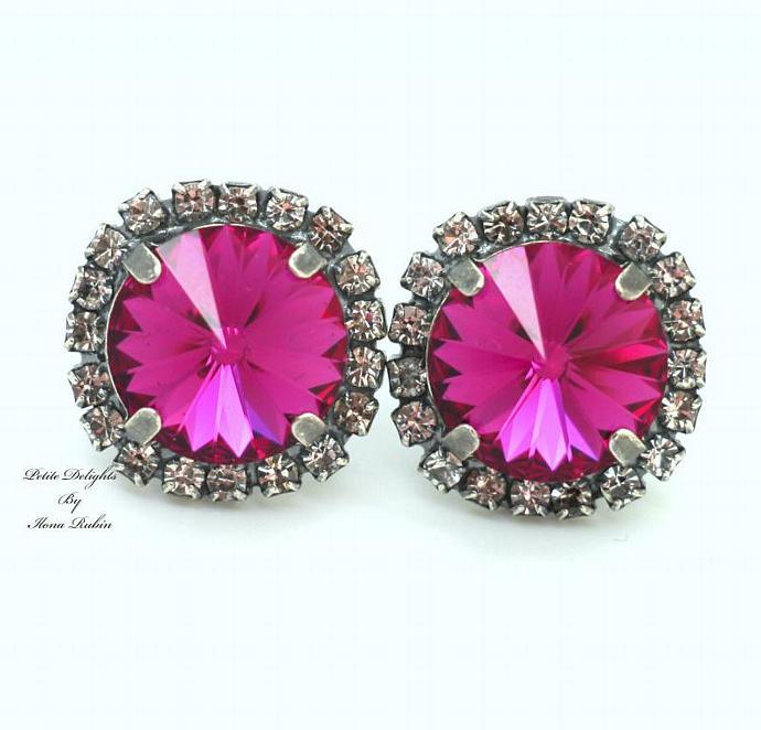 Women Girl Pink Silver Earrings Crystal Oxidized Real Swarovski Rhinestones