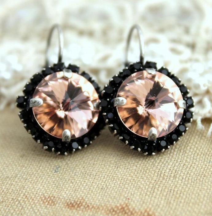 Pink Black Swarovski Hook Earrings Gift For Woman Oxidized Silver Rhinestone
