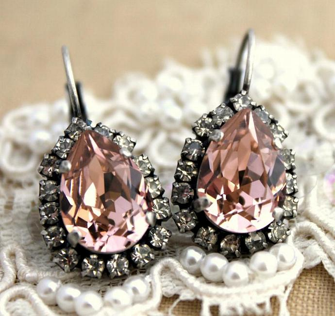 Rose Light Pink Teardrop Oxidized Silver Earrings Swarovski Weddings Womens