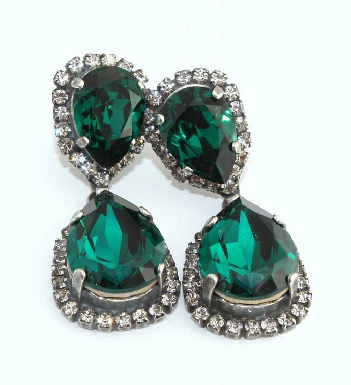 Emerald Earrings Silver Weddings Jewelry Women Oxidized Swarovski Crystal