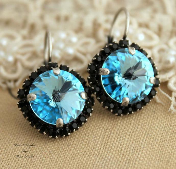 Blue Aqua Black Swarovski Leverback Earrings Woman Oxidized Silver Weddings