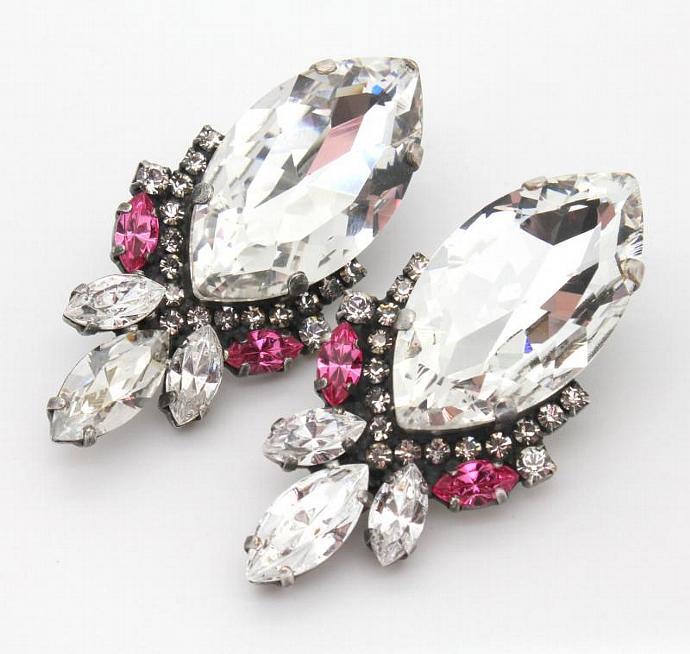 Rhinestone Statement Stud Earrings - Oxidized Silver Plating Swarovski Earrings