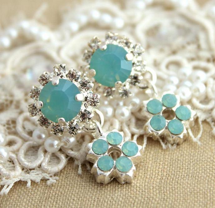 Crystal Elegant Rhinestone Earrings Silver Plated Swarovski Wedding Women