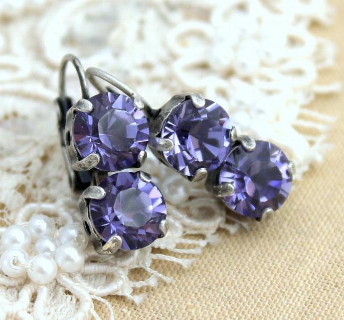 Purple Silver Rhinestone Earring Oxidized Swarovski Wedding Women Bride Gift