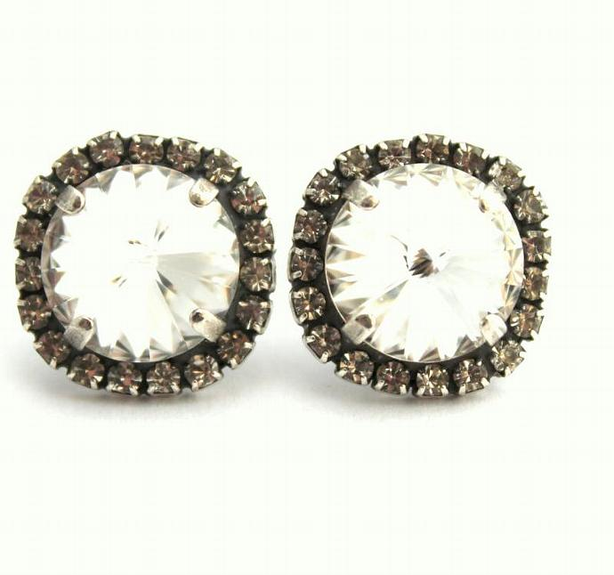 Bridal Crystal Earrings Silver Plated Oxidized Swarovski Wedding Women Bride