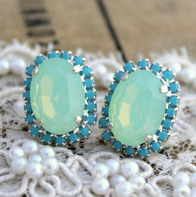 Turquoise Oval Stud Earring Silver Plated Gold Swarovski Rhinestones Wedding