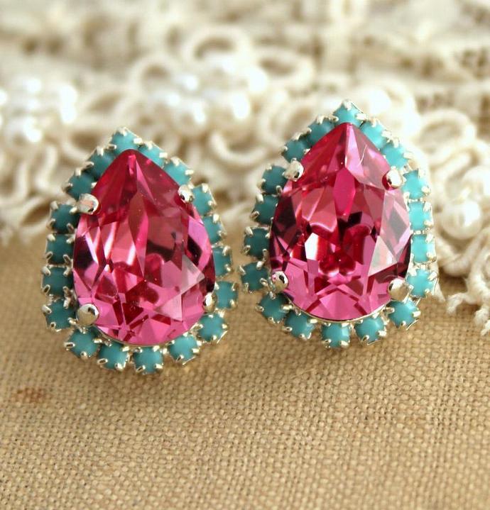 Pink Turquoise Teardrop Stud Silver Earrings Wedding Women Bride Swarovski