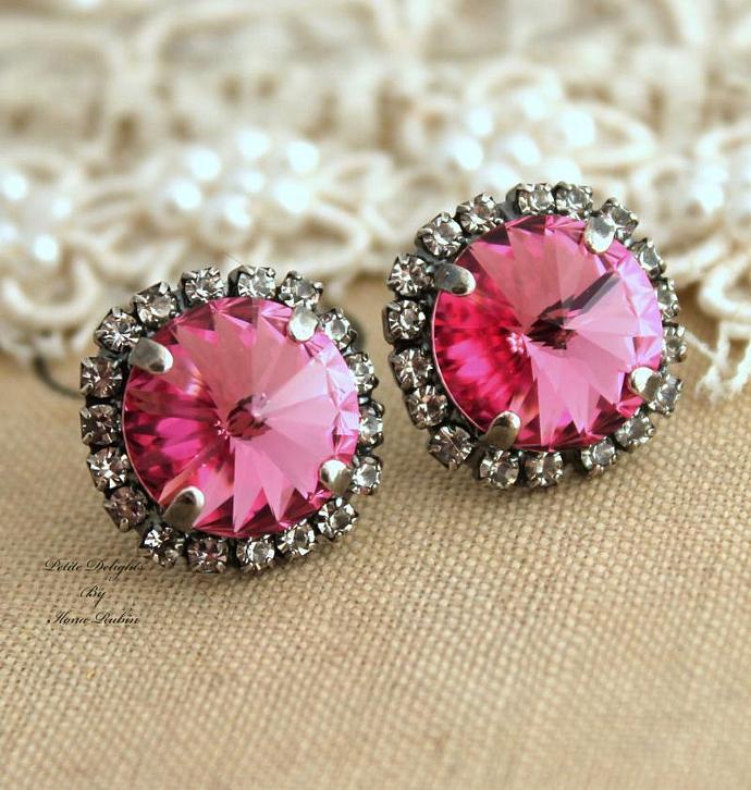 Pink Woman Wedding Gift White Silver Bridal Stud Earrings Oxidized Swarovski