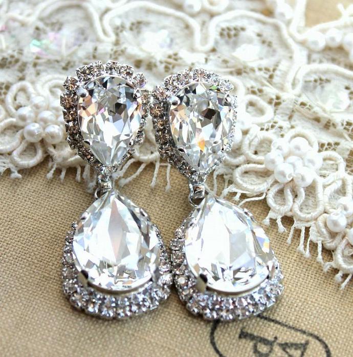Silver Earrings Woman Wedding Jewelry Oxidized Swarovski Crystals Bride Gift