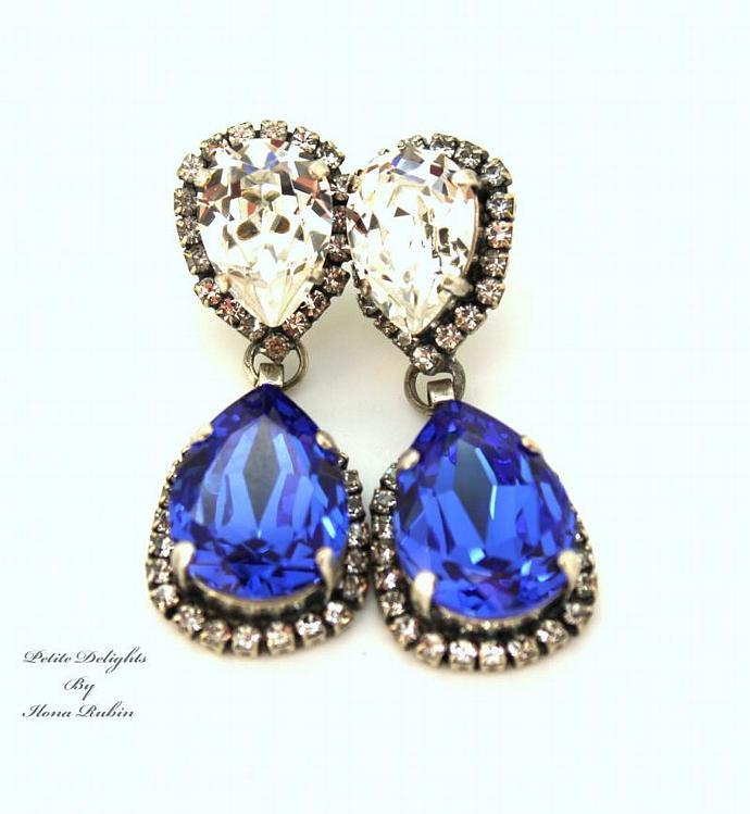 Sapphire Blue White Silver Chandelier Earring Gift Swarovski Wedding Jewelry